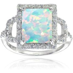 Glitzy Rocks Sterling Silver Synthetic Opal and Cubic Zirconia Square... ($19) ❤ liked on Polyvore featuring jewelry, rings, white, opal rings, solitaire ring, sterling silver cz rings, vintage opal rings and sterling silver band rings