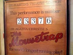 Agatha Christie, the mousetrap St Martins theatre,  number performance board.