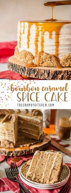 This Bourbon Caramel Spice Cake is full of fall flavors - covered with a caramel bourbon cream cheese buttercream and garnished with gingersnap cookies, it's perfect for any celebration. #bourbon #caramel #spicecake #recipe #fall #cake #recipes #creamcheese #whiskey #caramelsauce #autumn #dessert