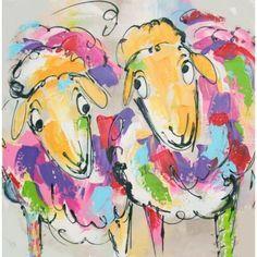 Vrolijk handgeschilderd acryl verf op zware kwaliteit canvas schilderij van twee vrolijke schapen.