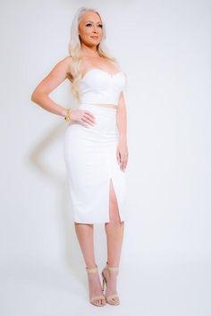 RAQUEL 2-PIECE White High Waist Skirt Set