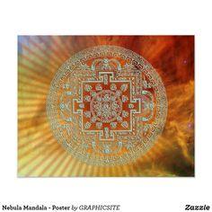 Shop Nebula Mandala - Poster created by GRAPHICSITE. Type Posters, Custom Posters, Star Cloud, Corner Designs, Mandala Design, Yoga Meditation, Custom Framing, Outdoor Blanket, Vibrant