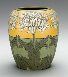Paul Revere Pottery of the   Saturday Evening Girls (1908–42),   executed by Ida Goldstein (b. 1894),   vase, Boston and Brighton, Mass., ca. 1911 – 1914  Earthenware. H. 8-3/4 in.