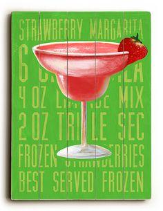 Cocktails - Strawberry Margarita Vintage Beach Sign: Beach Decor, Coastal Decor, Nautical Decor, Tropical Decor, Luxury Beach Cottage Decor