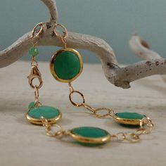 Green Chrysoprase Bracelet Gold Chain Bezel by LBlackbournJewelry, $98.00