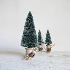Bottle Brush Wooden Thread Spool Christmas Trees  Set by cattales, $13.00