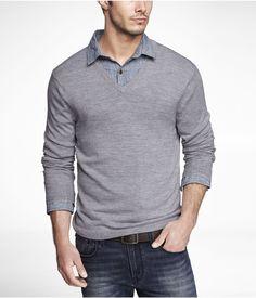 MERINO WOOL V-NECK SWEATER  -- Gray -- S or XS