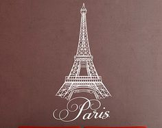 Paris Wall Decal Vinyl Sticker- Wall Decal Quote Vinyl Sticker  Eiffel Tower Skyline Silhouette Home Decor- Wall Decal for Living Room C032