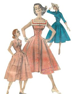 Vintage 1950s Sewing Pattern Full Skirt Button Front Dress Square Neckline B 32 #Butterick