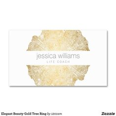 Gold Tree Rings Business Card for Life Coach, Yoga Teacher, Therapist and more. Easy to personalize. Fast shipping.