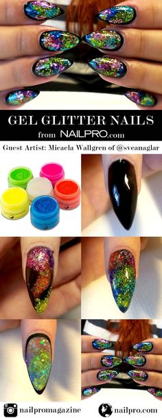 3e4537a424c7 How to do glittery gel nails using Light Elegance! Done by  sveanaglar.  Stiletto
