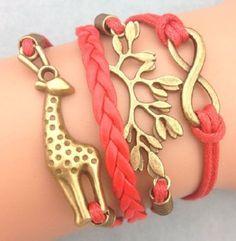Friendship Bracelet Retro Infinity Giraffe Tree leaf Leather Charm Bracelet Bronze Free Shipping by Chasingdreams97 on Etsy