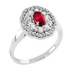 Ihastuttava Damara-timanttisormus on valmistettu 14 karaatin valkokullasta. Nimensä Damara on saanut kelttien nuoruuden, viattomuuden ja mielikuvituksen jumalattaren ja lapsien suojelijan mukaan. Malmin Korupajan oman malliston sormuksessa on siro runko ja näyttävä, kahden timanttikehän halo kauniin punaisen, ovaalihiotun rubiinin ympärillä. Juhlavaan timanttisormukseen on istutettu yhteensä 38 kauniisti säihkyvää timanttia. Timanttien väri on H(wesselton, väritön) js puhtaus on Vs. Malm, Heart Ring, Engagement Rings, Vintage, Jewelry, Enagement Rings, Wedding Rings, Jewlery, Jewerly