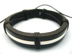 Shoply.com -fashion cuff bracelet made of black and white color leather cover for black leather. Only $3.00