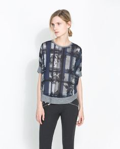 Image 1 of PRINTED PONCHO T-SHIRT from Zara 40