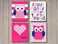 Owl nursery art - Owl bedding - Owl Art -Baby girl nursery art  - Owl - 8x10 - chevron - girls room - orange pink blue on Etsy, $23.00