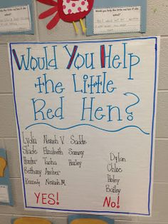 Would you help the Little Red Hen graph - Life in First Grade: Five for Friday! Preschool Literacy, Preschool Themes, Kindergarten Reading, Kindergarten Classroom, Talk 4 Writing, Persuasive Writing, Opinion Writing, Little Red Hen Activities, Traditional Tales