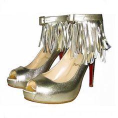 Cheap Christian Louboutin Short Tina Fringe Pumps Golden Sale : Christian Louboutin$194.02