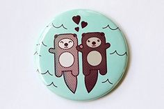 Otters Refrigerator Magnet Pin or Pocket Mirror  Otters Holding Hands Valentine Engagement or Anniversary Gift >>> ** AMAZON BEST BUY **