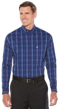 Jack Nicklaus Men's Jack Nicklaus Regular-Fit StayMotion Plaid Button-Down Shirt