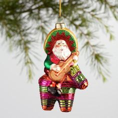 One of my favorite discoveries at WorldMarket.com: Glass Santa on a Pinata Ornament