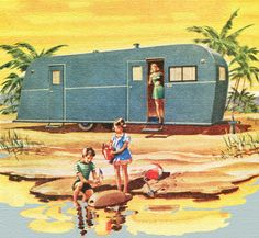was a toss up between posting this in my Trailer folder or my Kitsch folder. I chose Trailer because they are all kitschy in a sweet fun way. Caravan Vintage, Vintage Rv, Vintage Caravans, Vintage Travel Trailers, Vintage Campers, Vintage Motorhome, Glamping, Retro Camping, Camping Baby