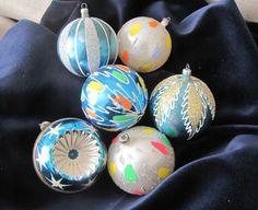 Set of 6 Vintage Italian Christmas Ornaments