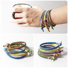 Mens red kabbalah macrame bracelet unisex jewelry by KUKAJTUcom