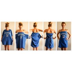 how to turn a ahirt into a dress | Turn an oversized shirt into a dress! No sewing or cutting! Perfect ...