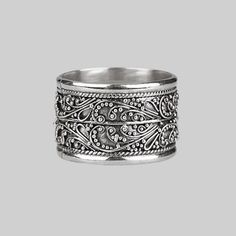 Sterling silver dots and scroll fine detail band ring. #regalrose #bali #sterlingsilver