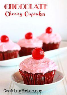 Chocolate-Cherry Almond Cupcakes - CookingBride.com