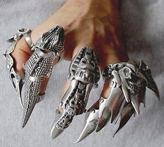 Pewter Full Finger Claw Armor Ring Gothic Punk Rock Biker Heavy Metal SteamPunk