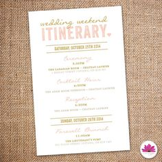 Wedding Weekend Itinerary! Pink and Gold Wedding Colors!