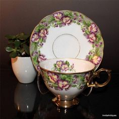 Royal Sealy Fine Bone China Pansies Heavy Gold Footed Tea Cup Saucer Set