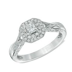 1/2 Ct D/VVS1 10K White Gold Square Princess-Cut Frame Engagement Ring by JewelryHub on Opensky