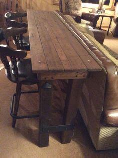 behind the sofa bar table Sofa Bar, Couch Table, Sofa Tables, Bar Table Behind Couch, Entry Tables, Console Table, Coffee Tables, Bar Deco, Articles En Bois