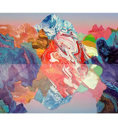 Kate Shaw - her method is to pour acrylic skins onto paper, then collages shapes together dependant on the natural formation of the patterns, to create landscapes, often mountains and lakes.