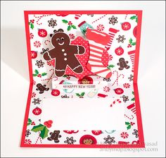 Awash with Color: Gingerbread Man and Holiday Icons Card