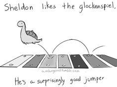 Sheldon likes the glockenspiel, he's a surprisingly good jumper, text; Sheldon the Tiny Dinosaur Cute Comics, Funny Comics, Cute Drawings, Animal Drawings, Turtle Dinosaur, Dinosaur Pics, Sheldon The Tiny Dinosaur, Funny Animals, Cute Animals