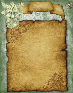 Greenman Book of Shadows Stationary Parchment Holly King, Bedknobs And Broomsticks, Wiccan Spells, Witchcraft, Pagan Art, Wiccan Crafts, Blank Page, Blank Book, Season Of The Witch