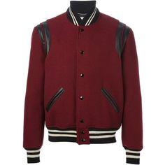 SAINT LAURENT Varsity Bomber Jacket in Burgundy Bordeaux ❤ liked on Polyvore featuring outerwear, jackets, varsity bomber jacket, red varsity jacket, varsity style jacket, letterman jacket and yves saint laurent