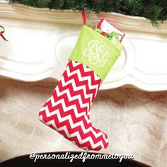 Monogrammed Chevron Christmas Stocking