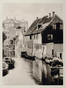 1930 Aarhus River Buildings Waterfront Denmark Danmark - ORIGINAL PHOTOGRAVURE