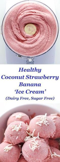 "Coconut Strawberry Banana ""Ice Cream"" Healthy Coconut Strawberry Banana ""Ice Cream"" made Dairy Free! This is so smooth, creamy, and delicious!Healthy Coconut Strawberry Banana ""Ice Cream"" made Dairy Free! This is so smooth, creamy, and delicious! Healthy Desserts, Delicious Desserts, Yummy Food, Healthy Recipes, Diet Recipes, Recipies, Healthy Meals, Healthy Strawberry Recipes, Tasty"