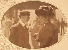 Titanic stewardess Annie Robinson talking to steward Janes Witter outside the Titanic enquiry in London