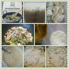 Groene curry met tilapia filet, rijst en wokgroenten