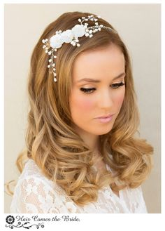 """Hair Comes the Bride - Classic Pearl Flower Bridal Headband ~ """"Delyse"""", $114.00 (http://www.haircomesthebride.com/classic-pearl-flower-bridal-headband-delyse/)"""