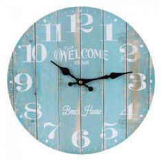 Clocks :: Indoor Wall Clocks :: Beach & Surf :: Welcome to our Beach House Wall Clock -