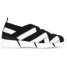 Stella McCartney slip-on woven sneakers (€445) ❤ liked on Polyvore featuring shoes, sneakers, black, slip-on shoes, slip-on sneakers, black rubber sole shoes, black slip-on shoes and slip on trainers