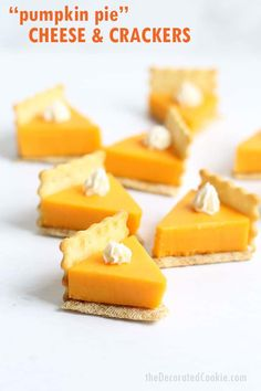 PUMPKIN PIE CHEESE AND CRACKERS is a fun food idea for a Thanksgiving appetizer that is so easy to make. Video how-tos included. Pumpkin pie cheese and crackers are a fun Thanksgiving appetizer idea. Fall Recipes, Holiday Recipes, Pumpkin Recipes, Thanksgiving Snacks, Appetizers For Thanksgiving, Thanksgiving Place Cards, Gluten Free Puff Pastry, Snacks Sains, Good Food